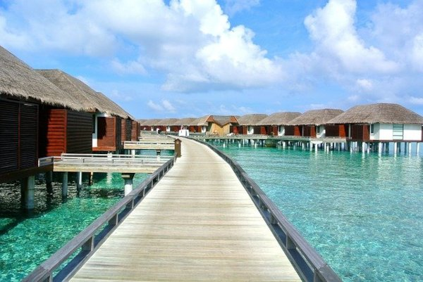 Water walkway leading to the water bungalows situated above clear blue waters