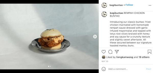 An instagram post of the Rempah Chicken Buntao burger at BUNTAO.