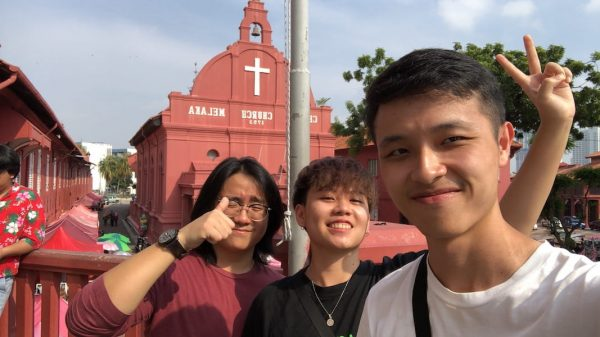 A photo of Jia Xin and her friends, Man Chong and Rui Bo during their road trip together to Malacca.
