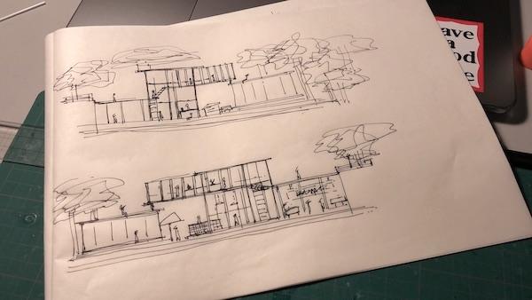 A design proposal sketch by Jia Xin.