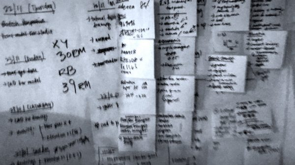 A photo of Jia Xin's Post-It notes on the wall which acts as her to-do list.
