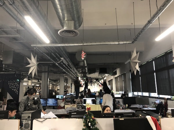 A photo of the inside of RSP Architects office with Christmas decorations.