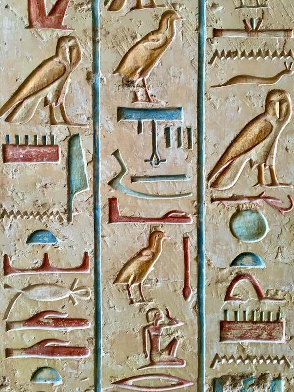 Symbols of ancient Egypt hieroglyphics as their note-taking style.